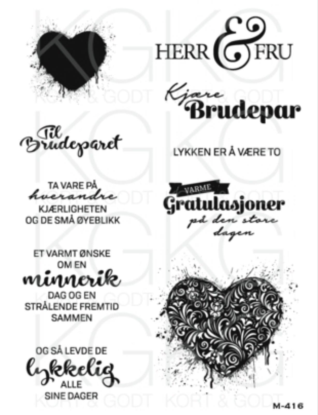 Kort og godt stempelplate :  bryllup & kjærlighet  , M416