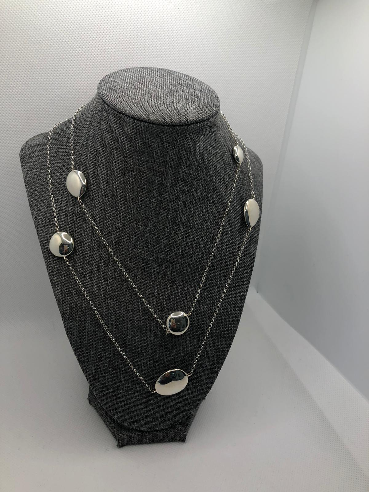 Polished Pebble Long Necklace, Sterling Silver by Chris Lewis