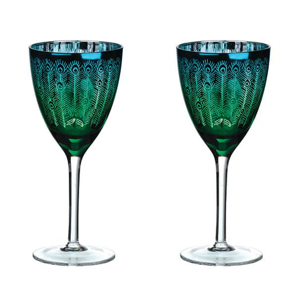 Anton Studio Designs, Peacock Glassware Range (set of 2)