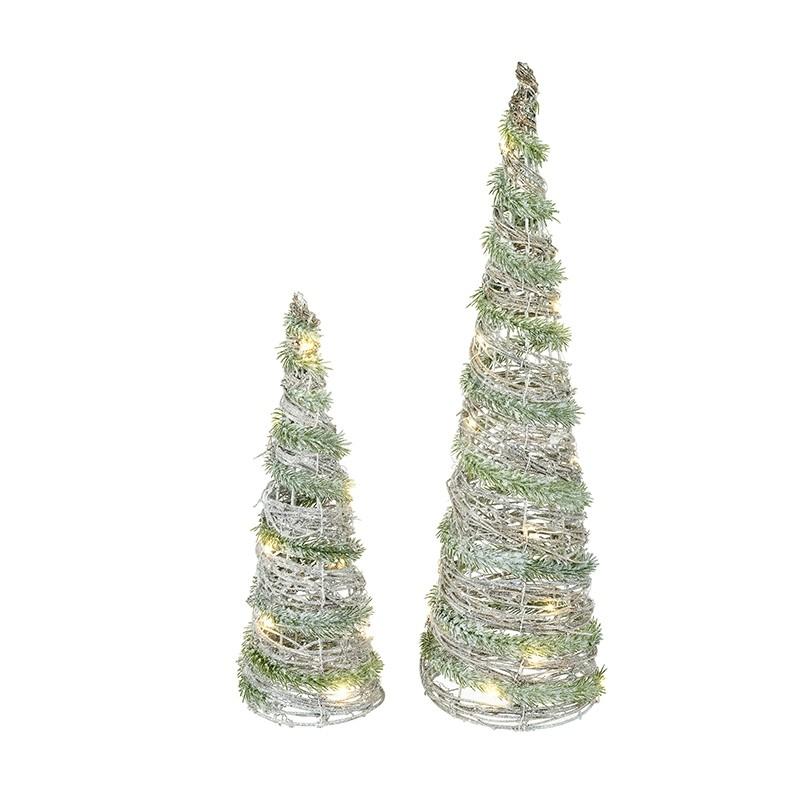 LED Rattan Cone Trees (Set of 2)