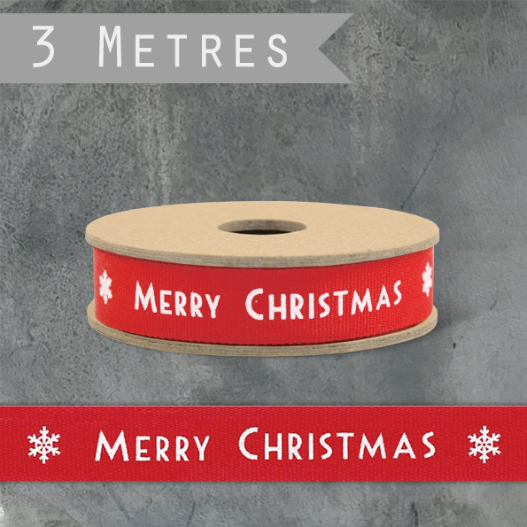 East Of India Art Deco Ribbon - Red Merry Christmas & Snowflake, 3m