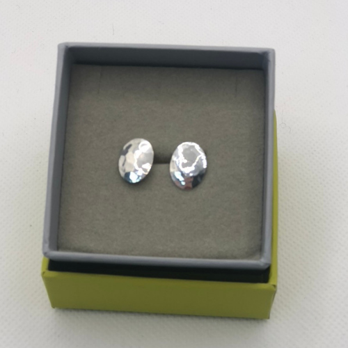 Hammered Oval Step Studs, Sterling Silver By Chris Lewis