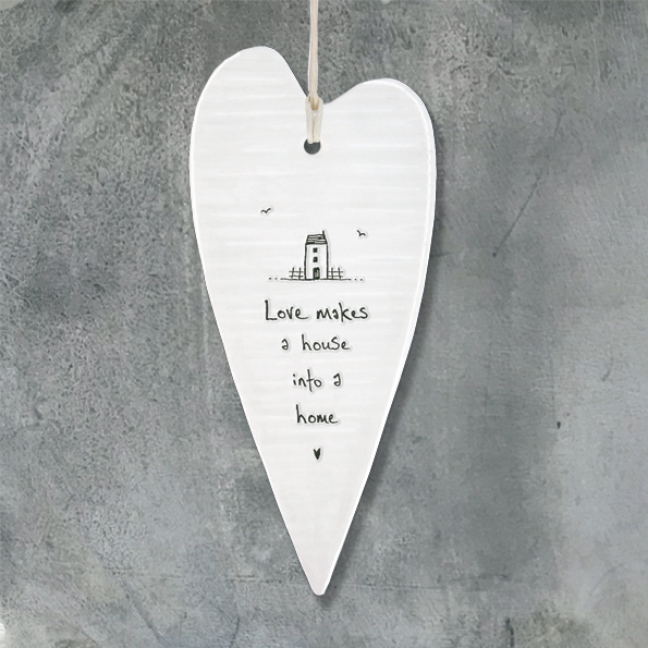 East Of India, Wobbly Long Hanging Porcelain Hearts