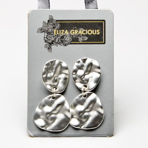 Eliza Gracious Matt Silver Earrings