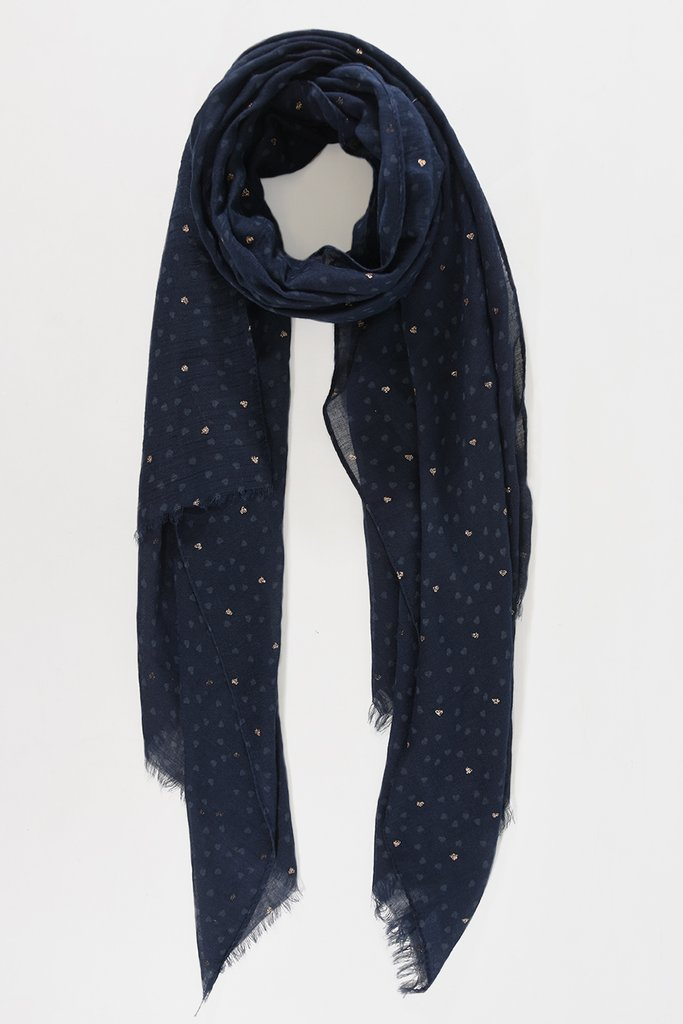 MSH Navy Blue / Rose Gold Heart Design Scarf