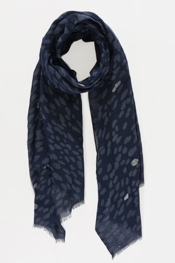 MSH Navy Blue / Silver Animal Print Scarf