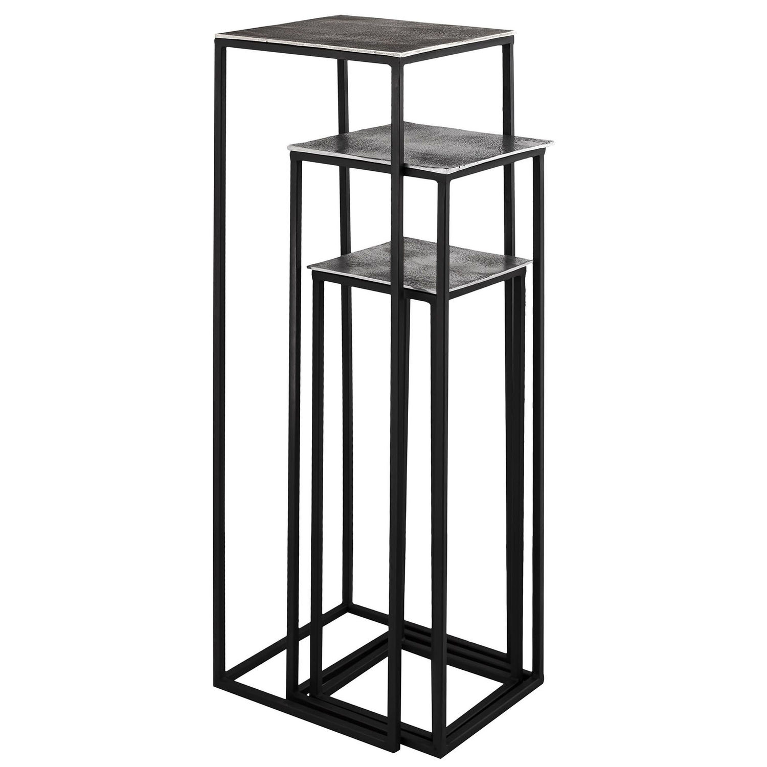 Farrah Collection Silver set of Three large Display Tables by Hill Interiors