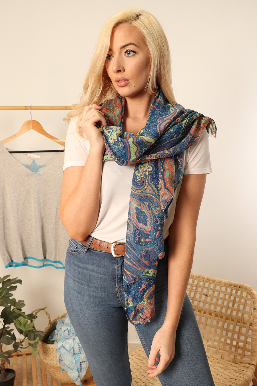 MSH Blue Floral Paisley Print Scarf
