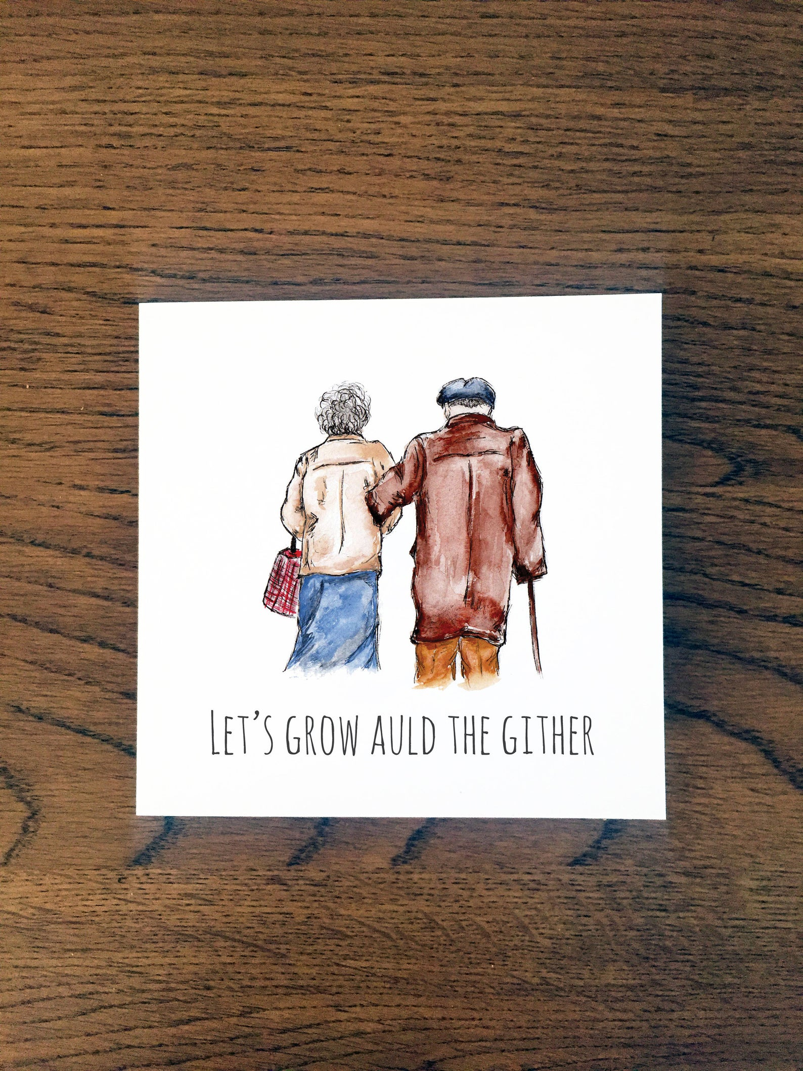 Doric Cards,  Scottish Anniversary Card - Grow Auld the Gither