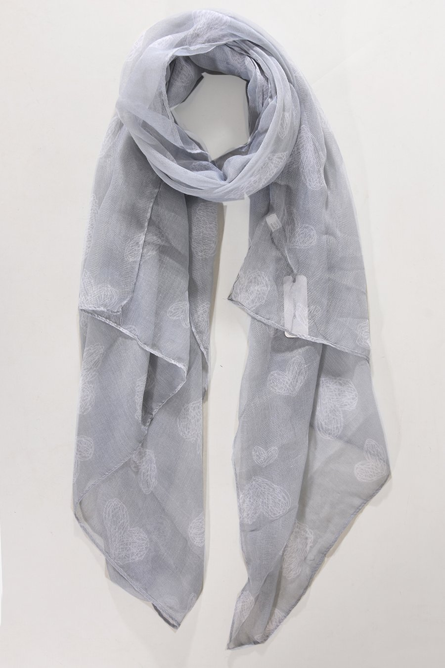 MSH Grey Scarf with Sketched Heart Print