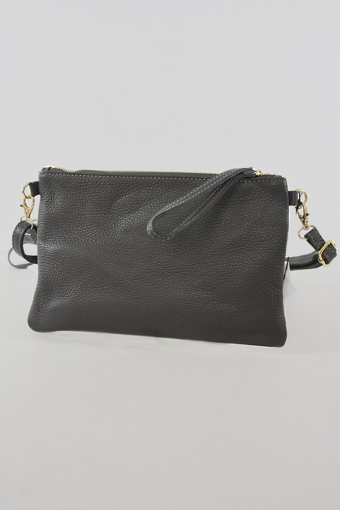 MSH Dark Grey Leather Clutch