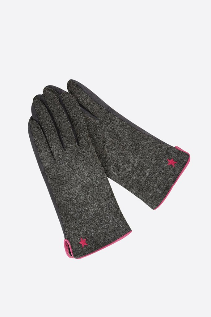 Dark grey gloves with fuchsia contrast binding and embroidered star