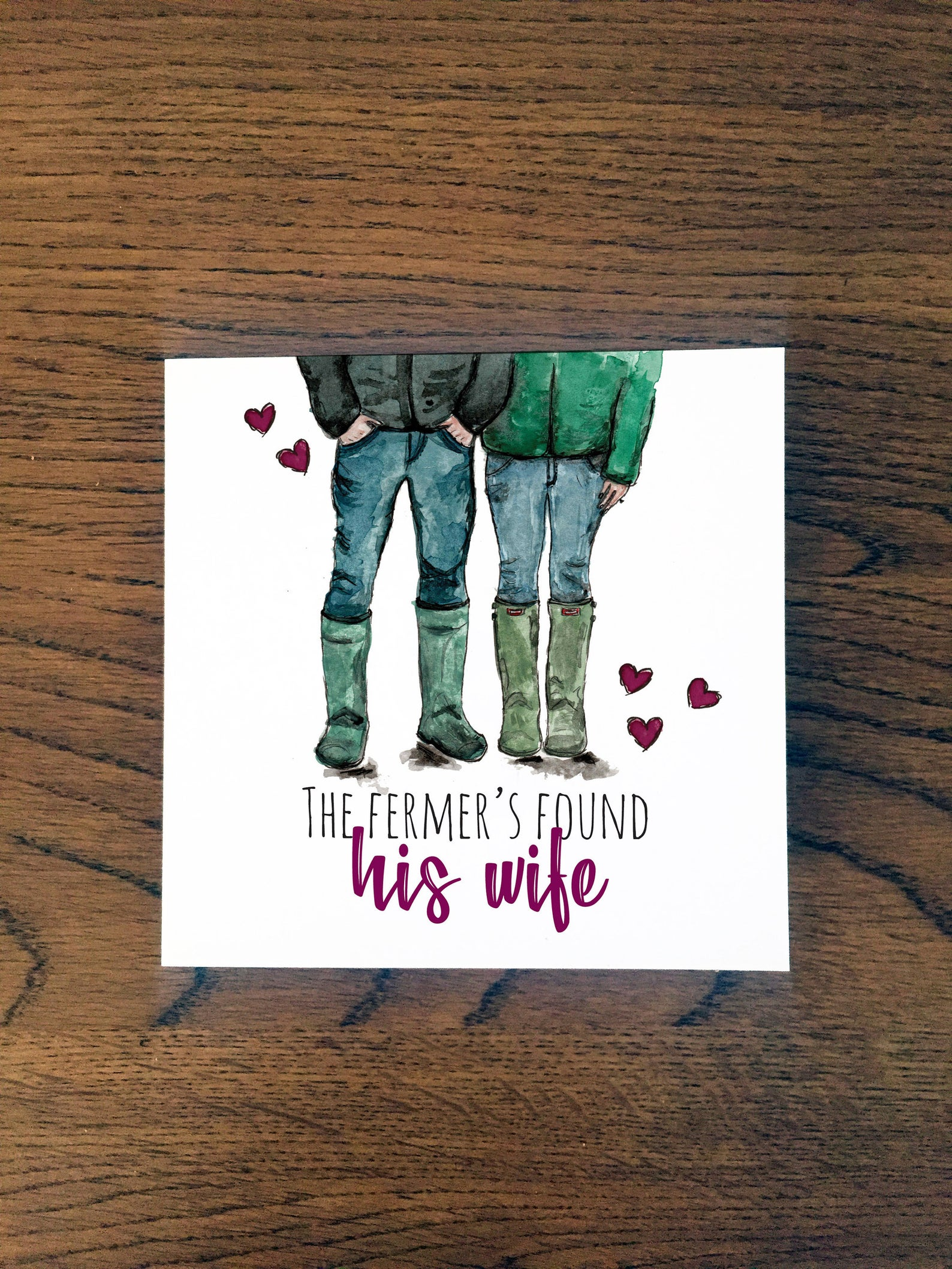 Doric Cards, Doric Engagement Card - The Fermer's Found His Wife