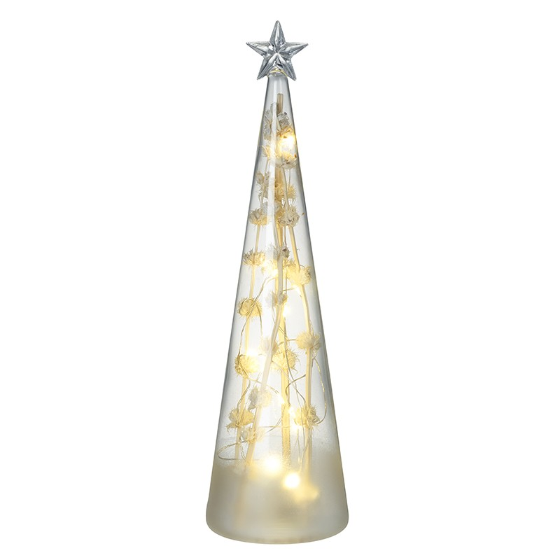 Light Up Glass Cone Tree With Star