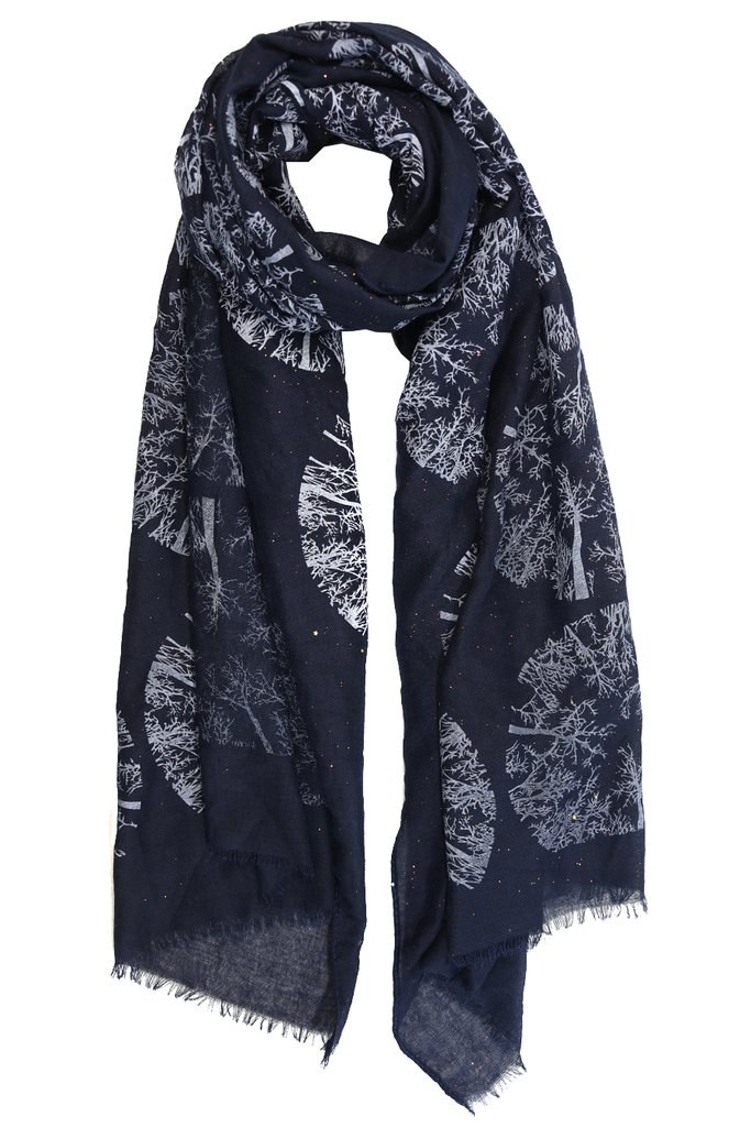 MSH Navy Blue Winter Trees Scarf