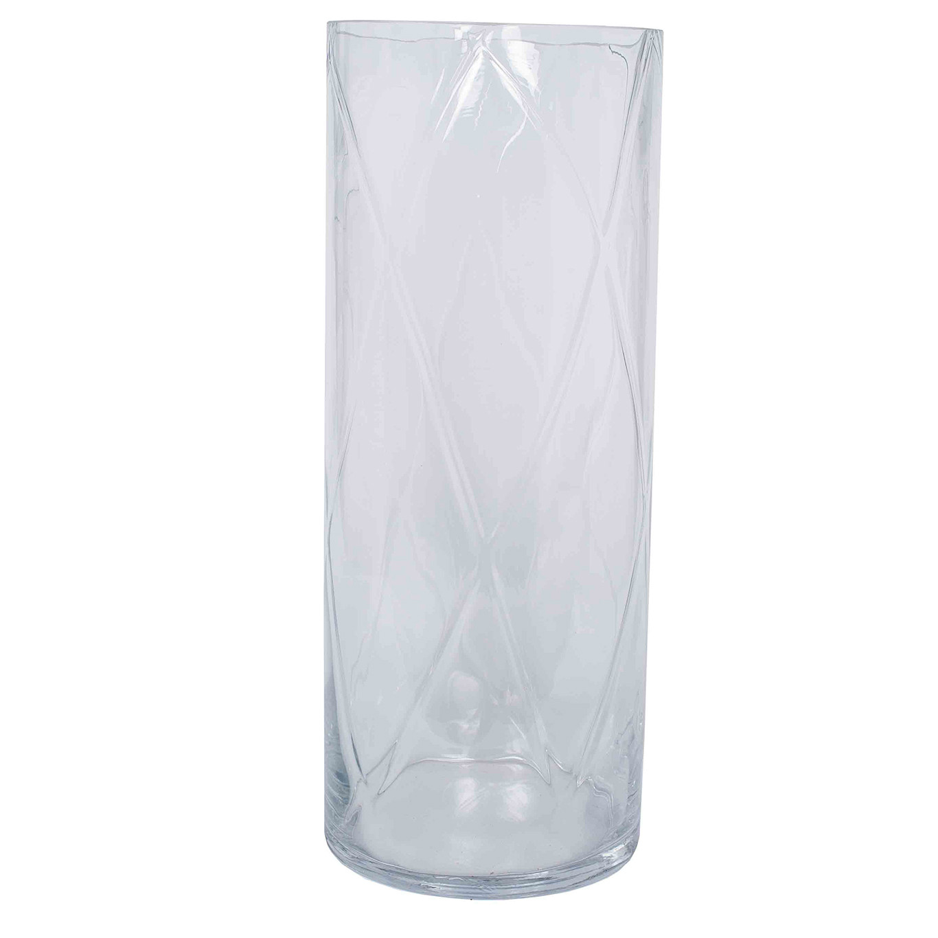 Clear Glass Round Optic Vase, Large