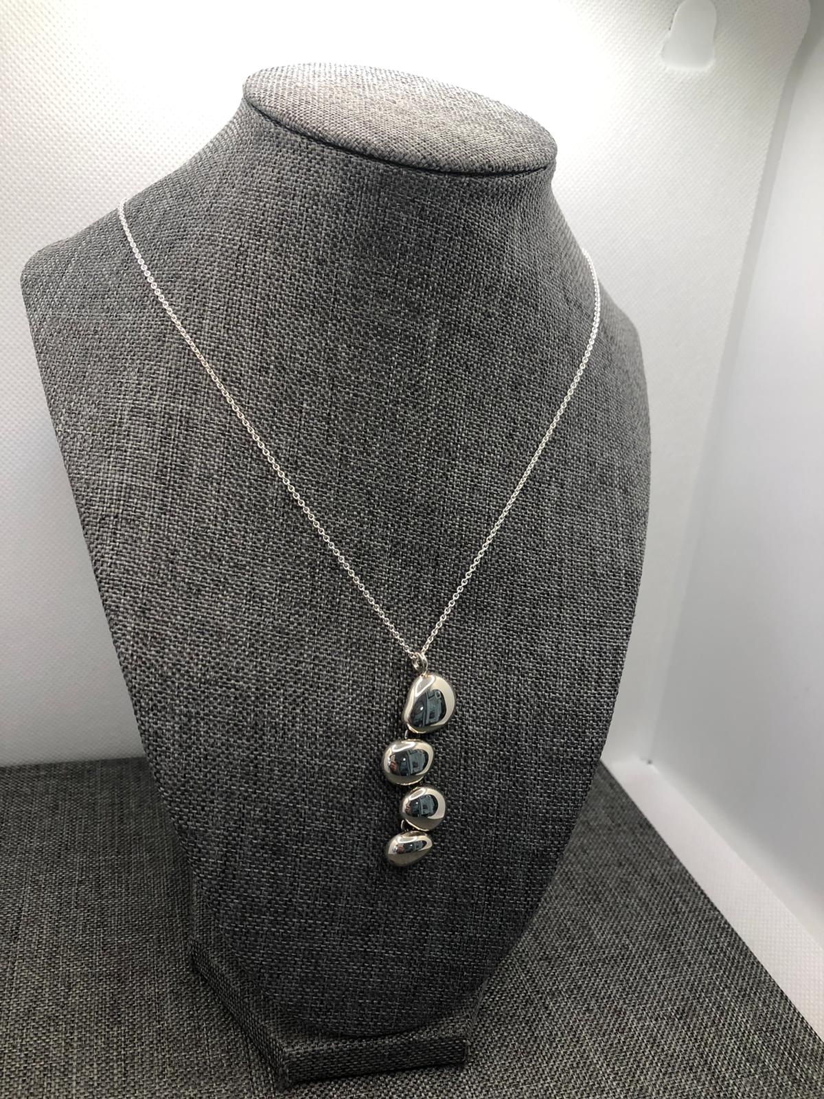 Polished Pebble Pendant, Stirling Silver by Chris Lewis