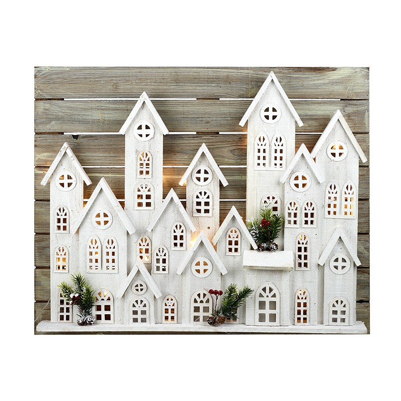 Large White Light Up Town Houses Scene
