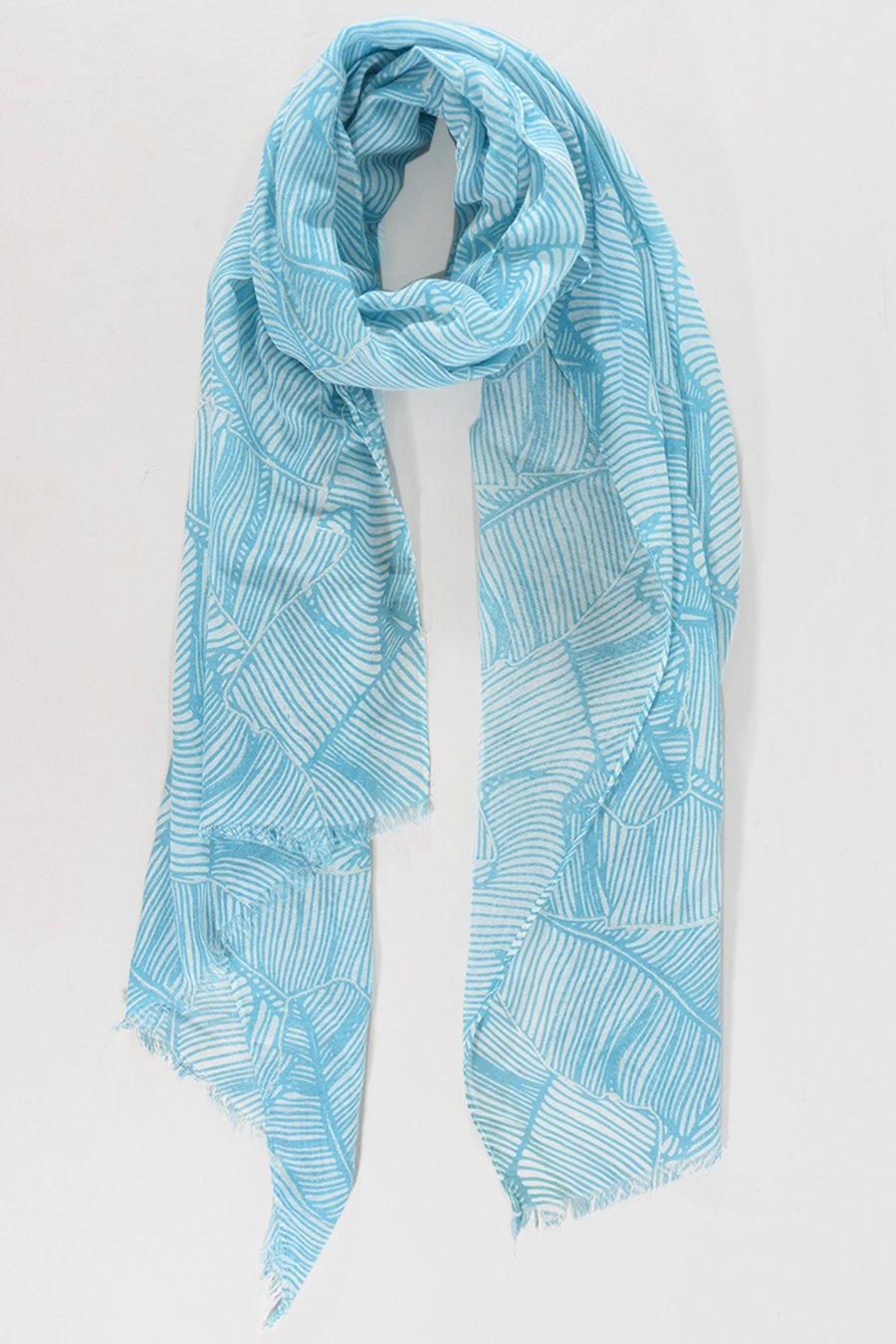 MSH Turquoise Silver Palm Leaf Outline Print Scarf