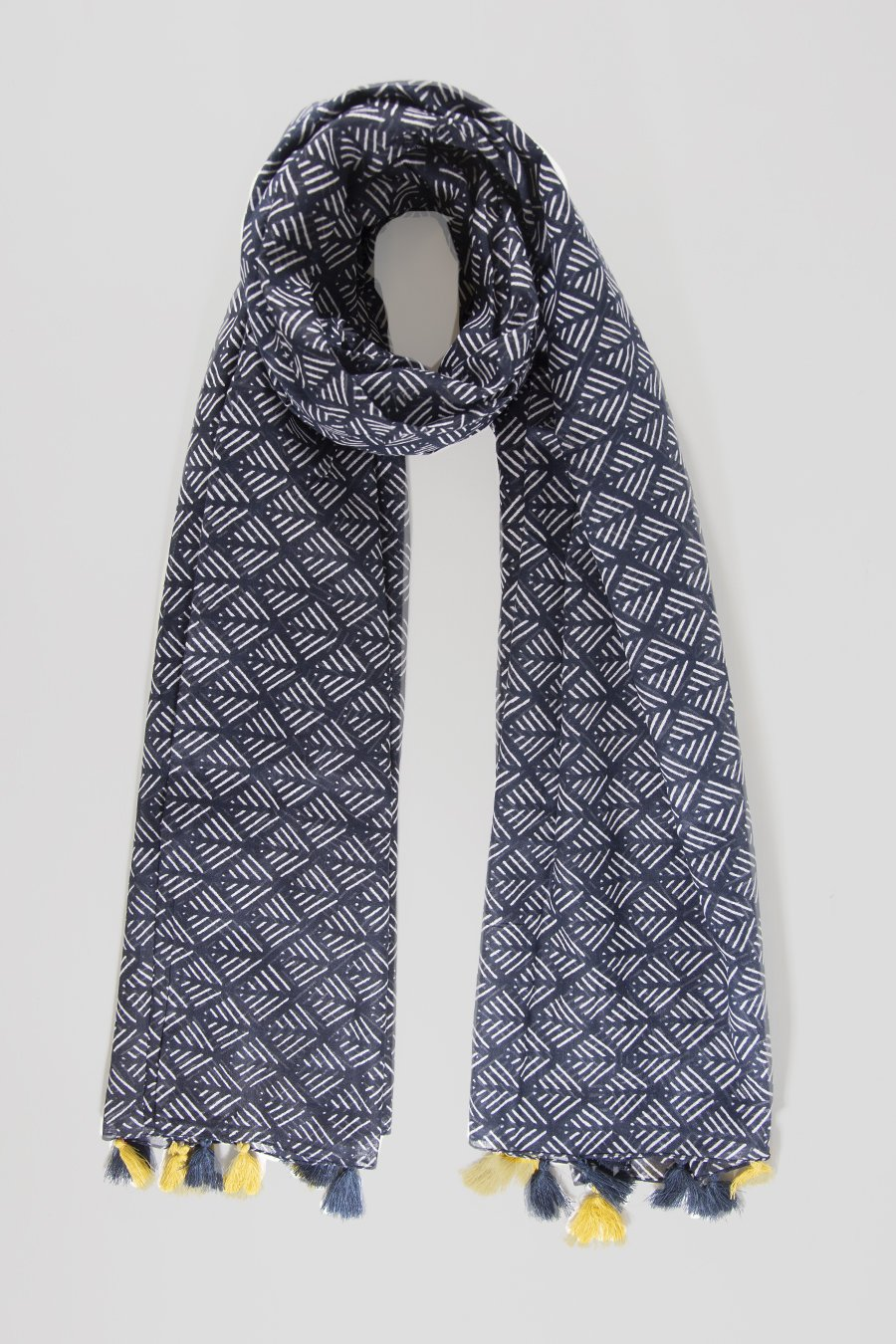 MSH Navy Colour Contrast Tassel Geometric Pattern