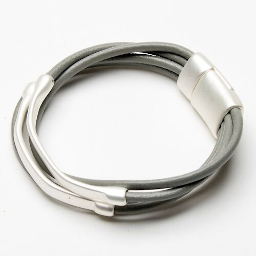 Eliza Gracious Leather and Bar Wrap Style Bracelet