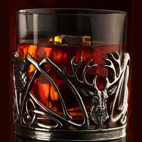 AE Williams Pewter Stag and Thistle  Glassware