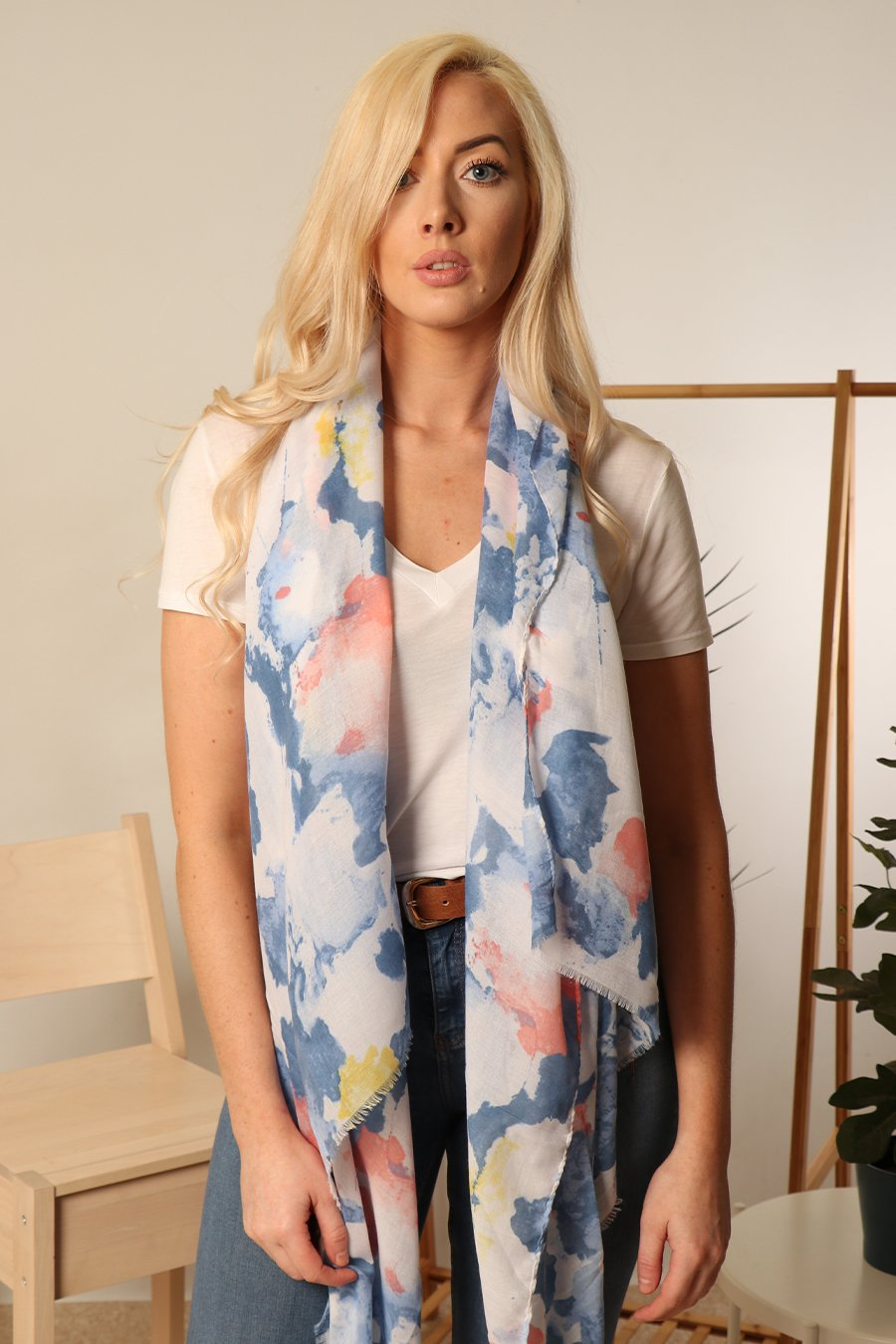 MSH Blue / Pink Watercolour Design Scarf