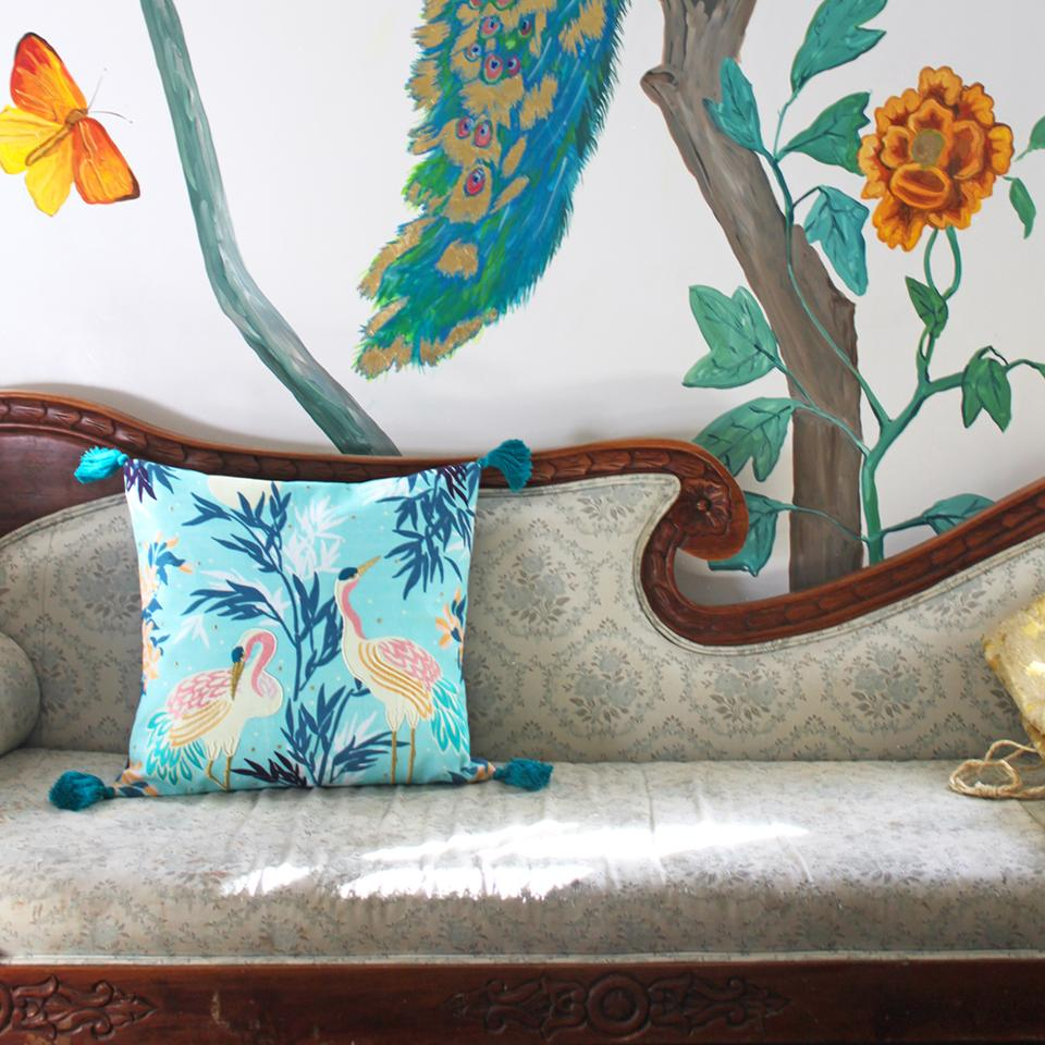 "Luxe Crane Cushion, 18"""