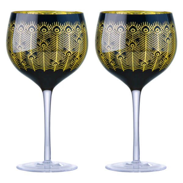 Anton Studio Designs, Midnight Peacock Gin Glasses (set of 2)