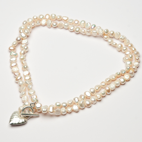 Eliza Gracious Twin Strand Pearl Necklace with Beaten Heart