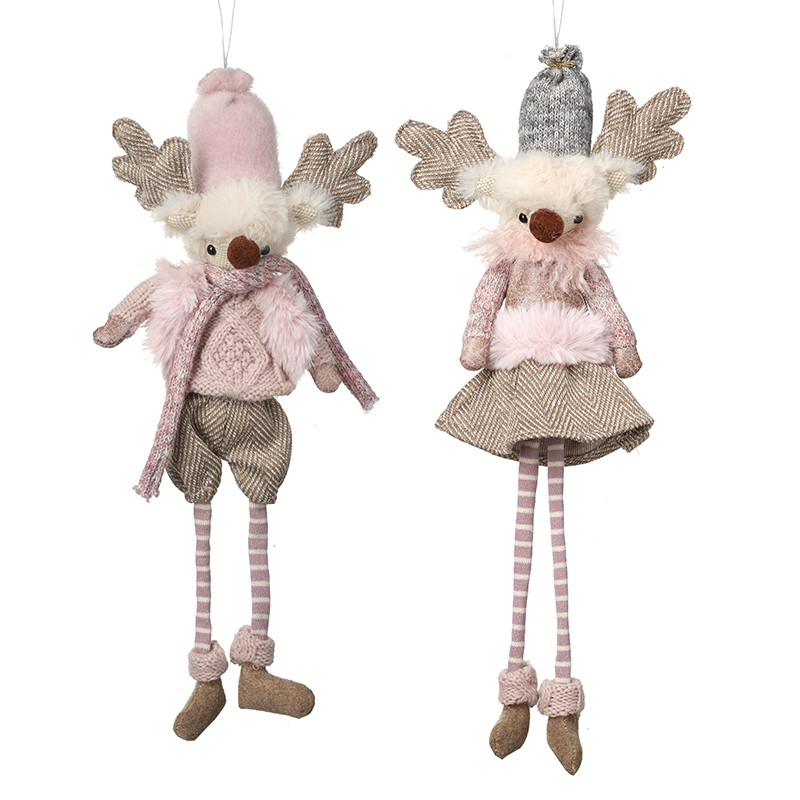 Hanging Reindeer In Pink Clothing