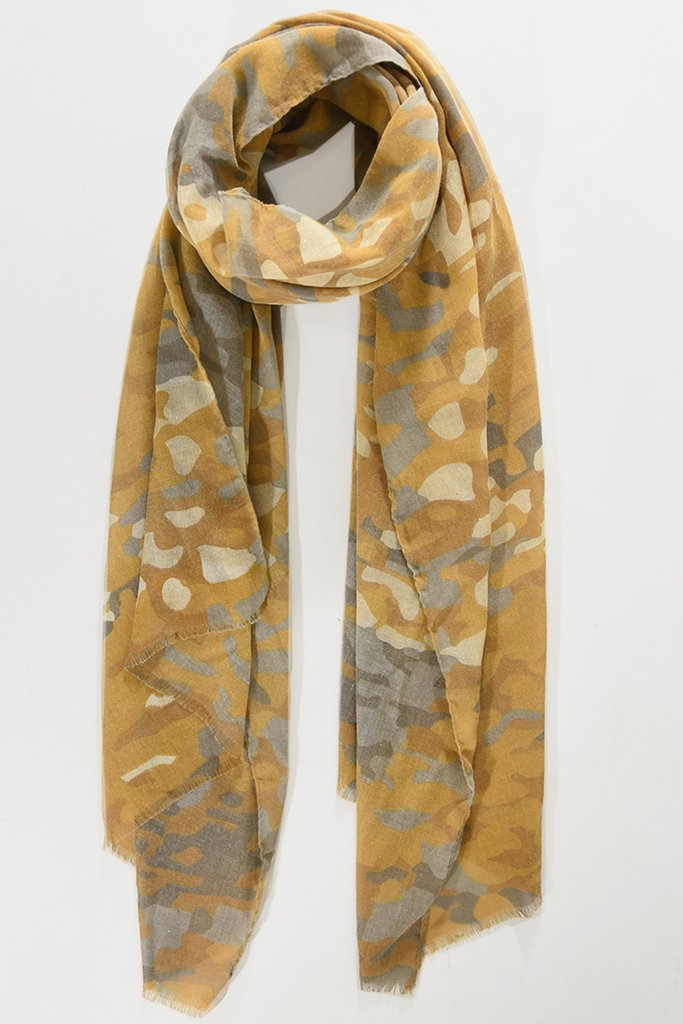 MSH Mustard / Gold Camoflage Print Scarf