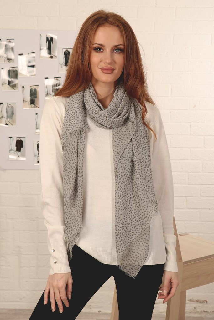 MSH Grey and White Animal Print Scarf