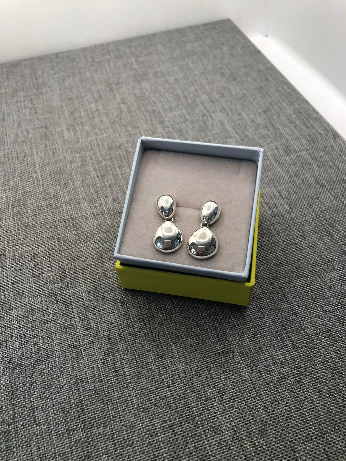 Polished Pebble Earrings, Sterling Silver by Chris Lewis