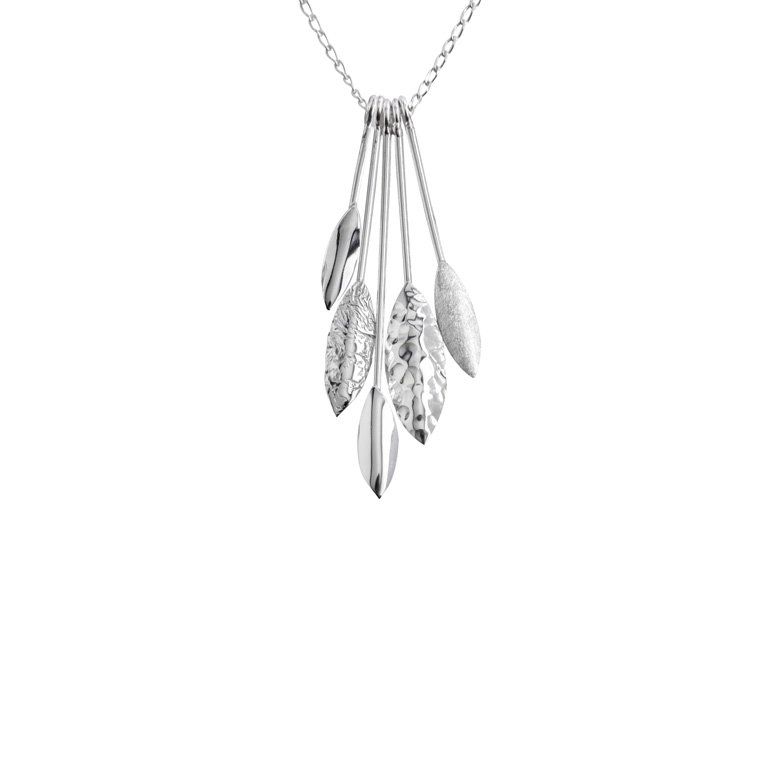 Hanging Leaves Pendant, Sterling Silver By Chris Lewis