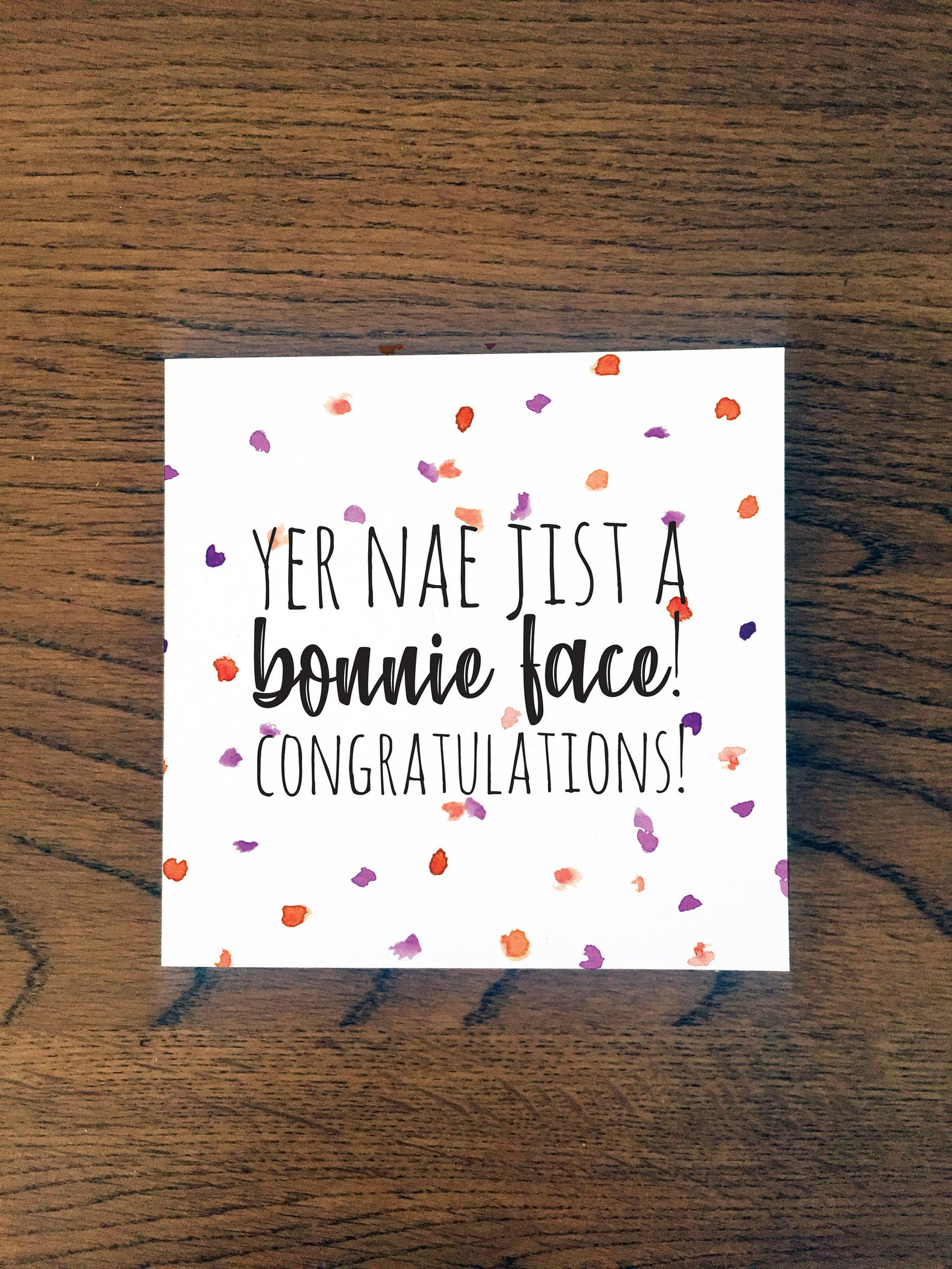 Doric Cards, Scottish Congratulations Card - Bonnie Face