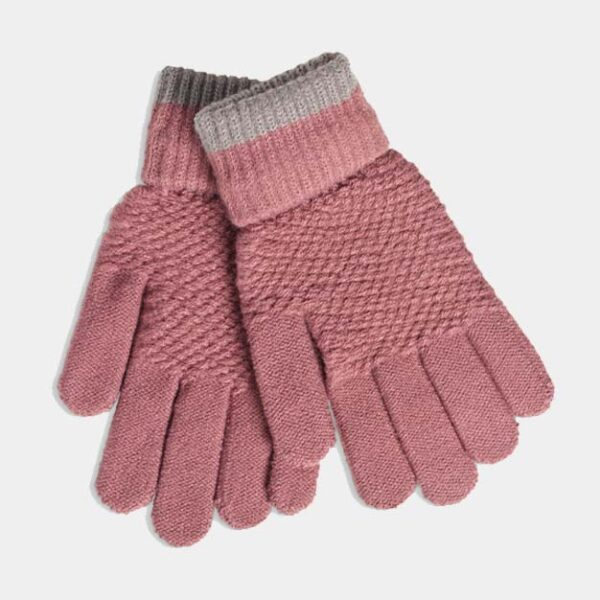 Quintessential Moss Stitch Gloves, Mauve