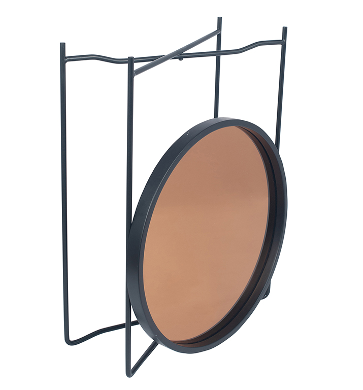 att Black Wood and Metal Side Table with Copper Glass