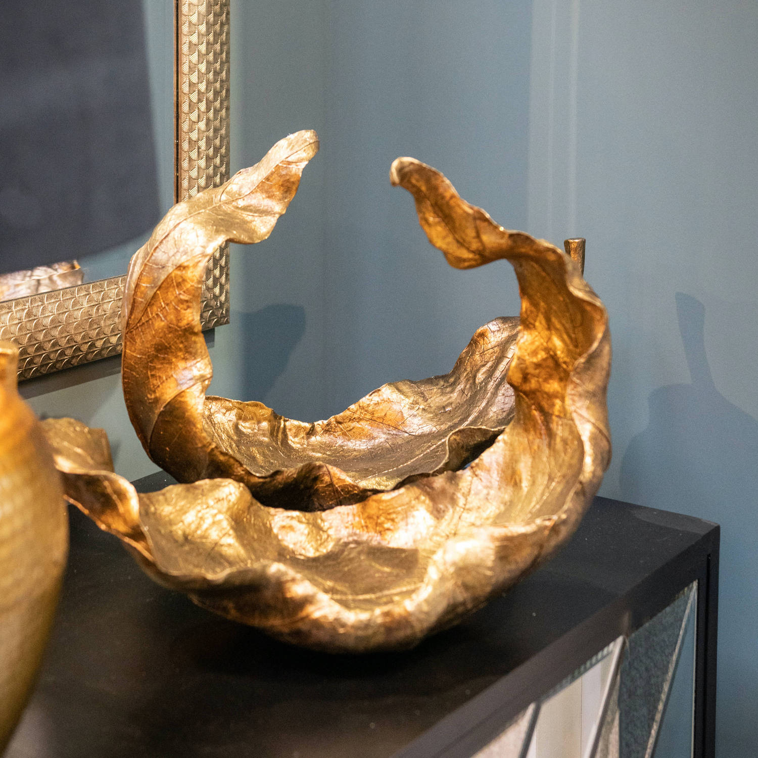 Large Gold Curled Leaf Sculpture by Hill Interiors
