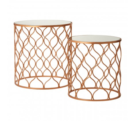 Avantis Copper Mirrored Side Tables