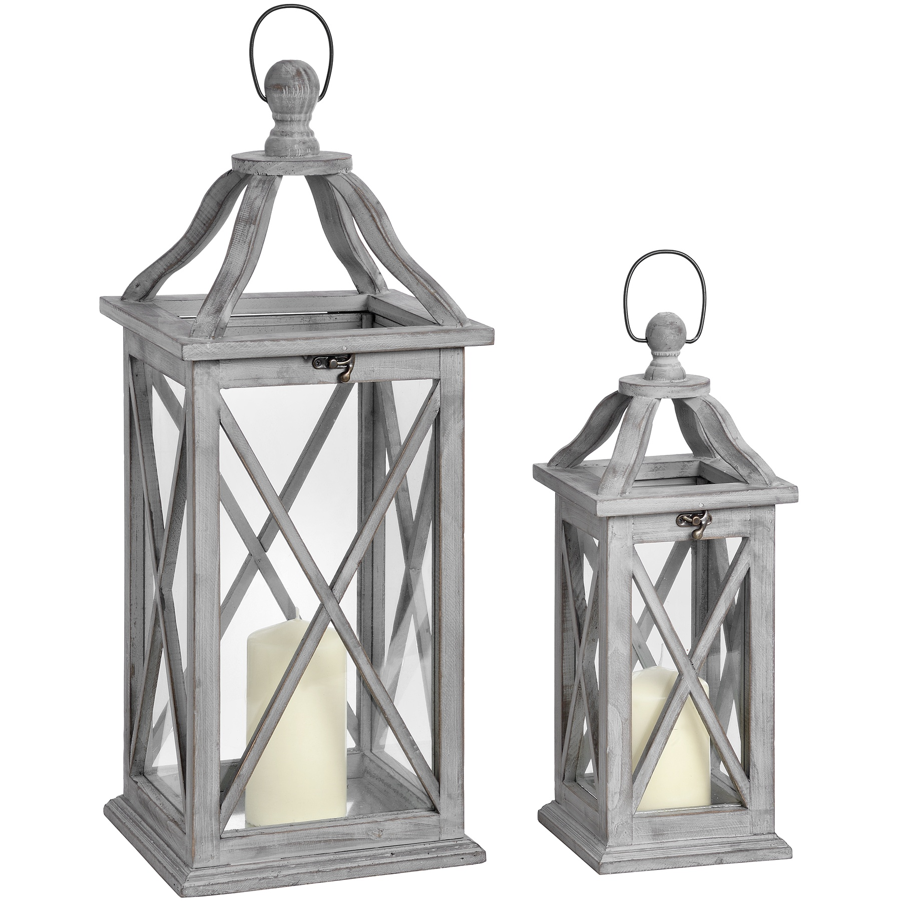 Set Of Two Grey Cross Section Lanterns With Open Tops by Hill Interiors