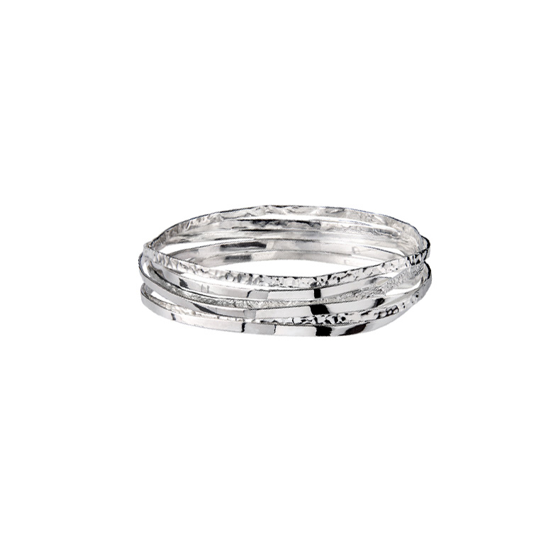 Curved Line Bangle, Sterling Silver By Chris Lewis
