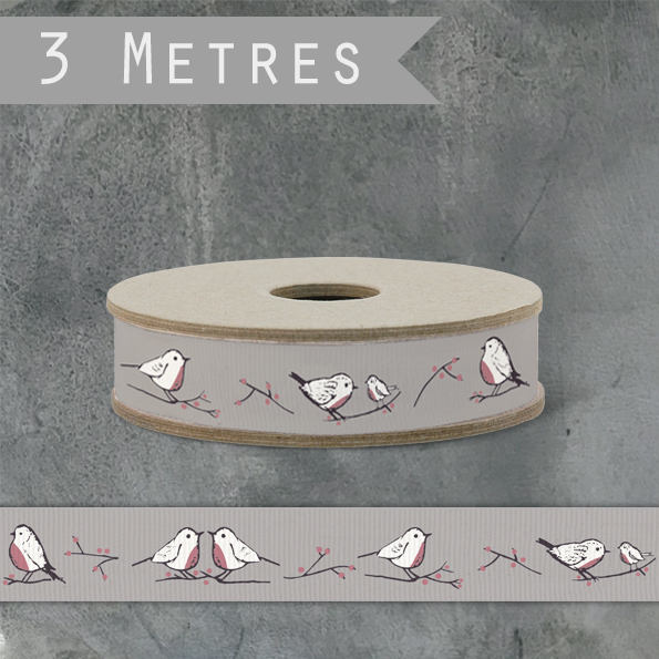 East Of India Ribbon - Robins & Rosehips / Grey, 3m