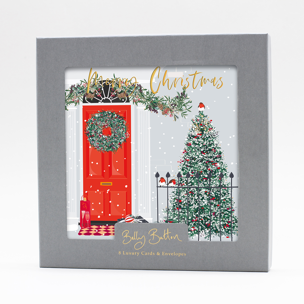 Belly Button Designs, Luxury Christmas Cards, Door (Pack of 8)