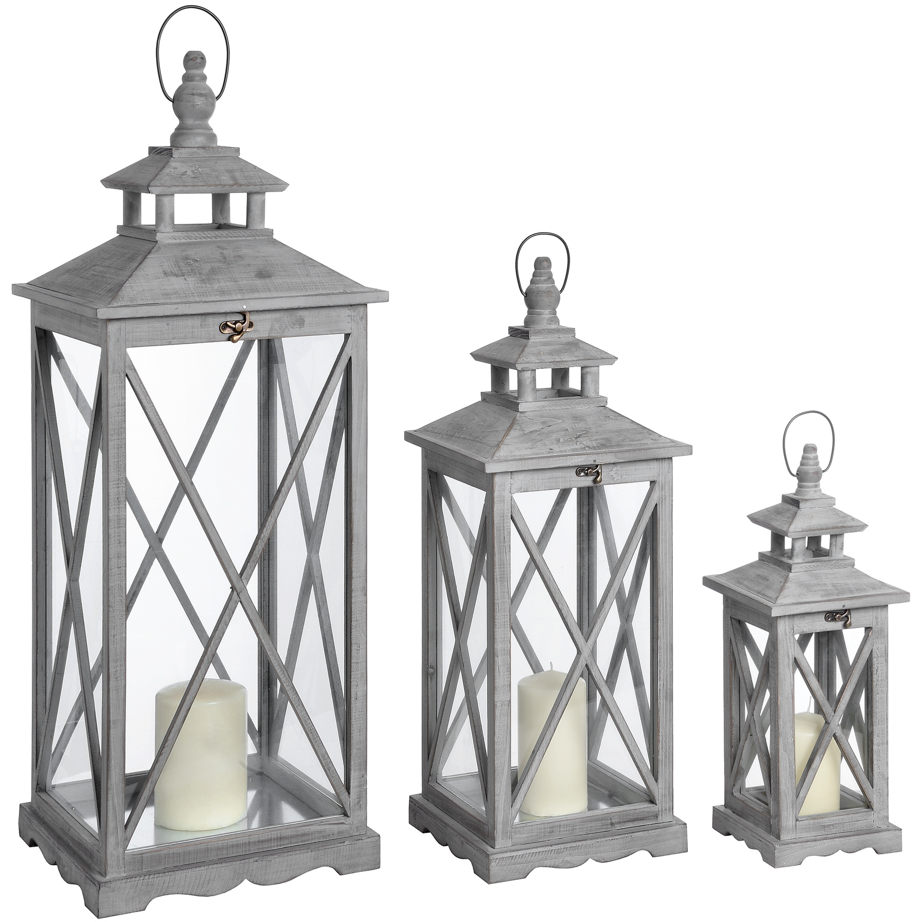 Set Of Three Wooden Lanterns With Traditional Cross Section by Hill Interiors