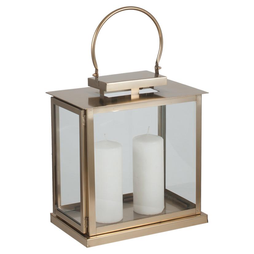 Champagne Nickel & Glass Oblong Lantern