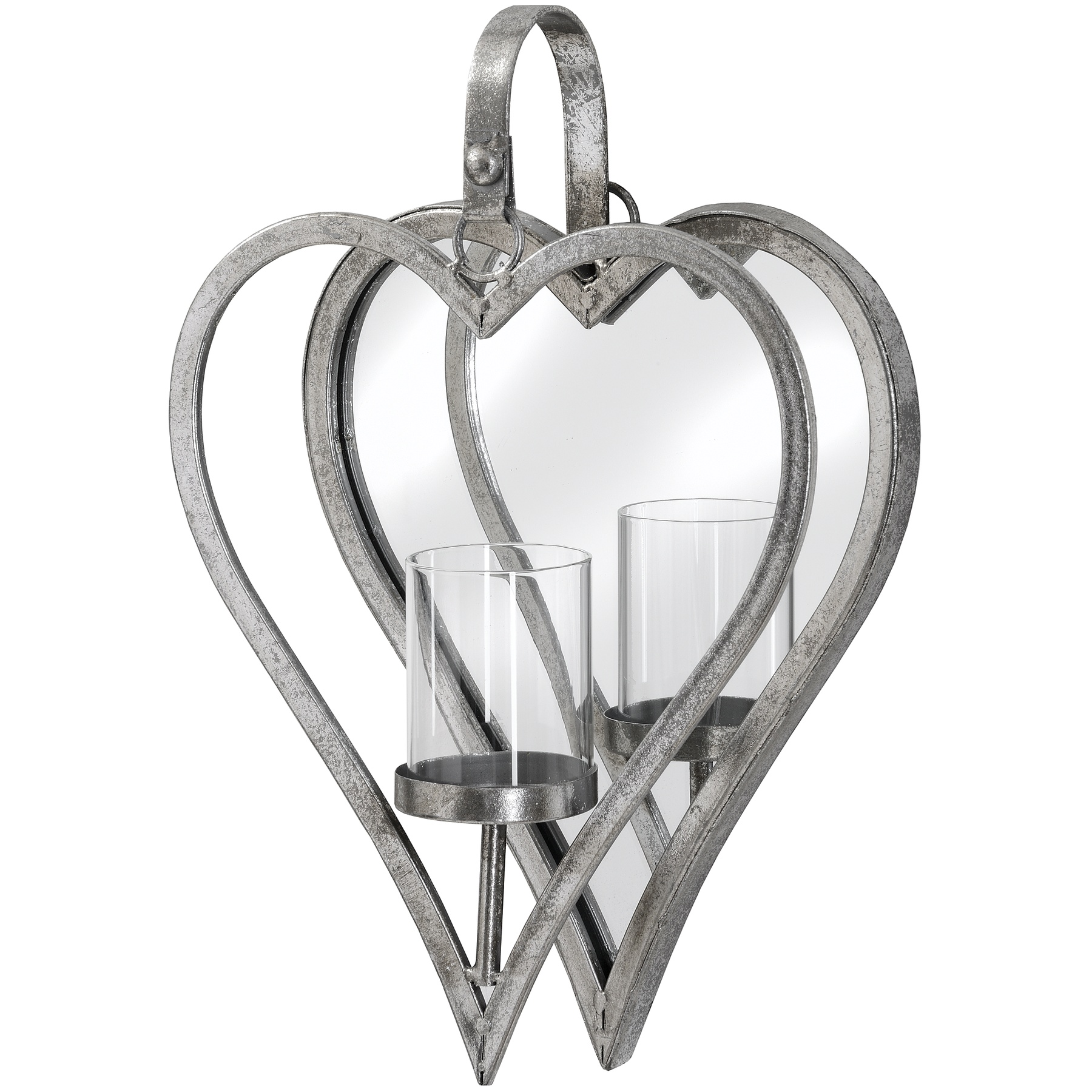 Antique Silver Mirrored Heart Candle Holder by Hill Interiors
