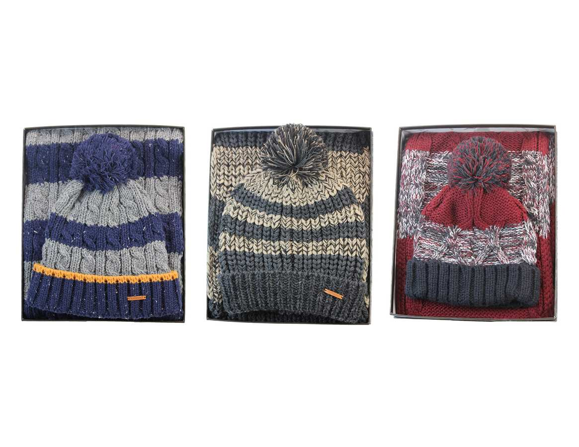 Signature Men's Knitted Scarf and Hat Set