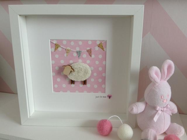 Southbeach Designs, Baby Pink Sheep Frame