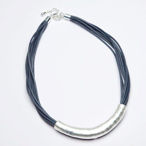 Eliza Gracious Short Dark Grey and Brushed Silver  Necklace